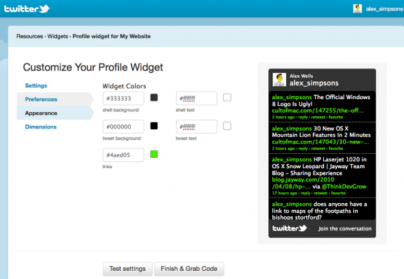 customise twitter feed widget