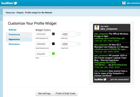 customise twitter feed widget