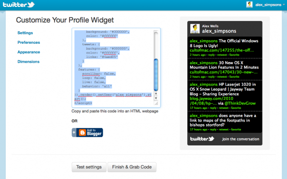 add twitter feed to your website via HTML code